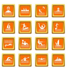 Water sport icons set orange vector