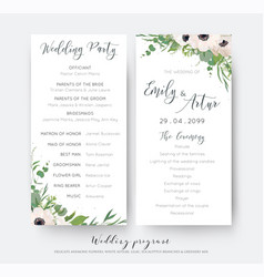 Wedding ceremony and party program card elegant vector