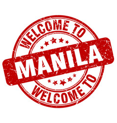 Welcome to manila red round vintage stamp vector