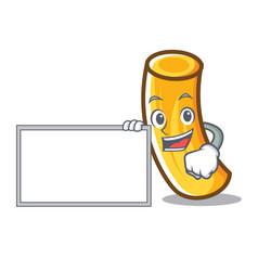 with board tortiglioni pasta character cartoon vector image