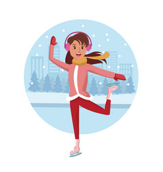 woman ice skates cartoon vector image