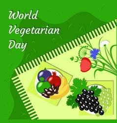 World vegetarian day fruit picnic - grass vector