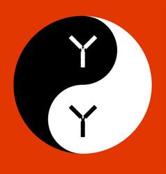 yin yan y icon vector image