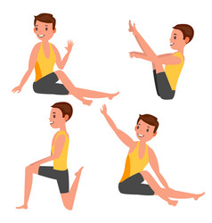 Yoga male stretching and twisting vector