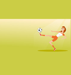 Young caucasian soccer player kicking a ball vector