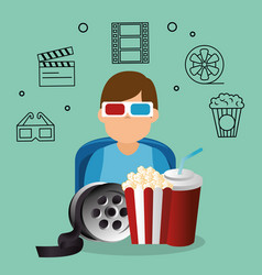 Young man with glasses 3d and cinema icons vector