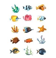 cartoon aquarium decor objects underwater vector image vector image