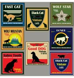 cat and dog vintage label set vector image vector image