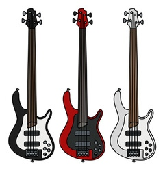 Electric bass guitars vector