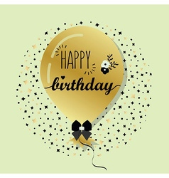 Golden flying helium Happy Birthday balloon card vector image vector image