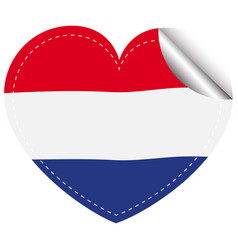 netherlands flag in heart shape vector image vector image