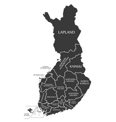 finland map labelled black in english language vector image vector image