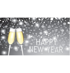 happy new year card with two champagne glasses vector image