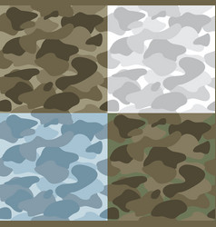 military soldier camouflage seamless patterns set vector image