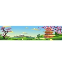Panorama of nature Asia Palace vector image vector image