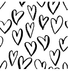 seamless heart pattern ink grunge background vector image vector image