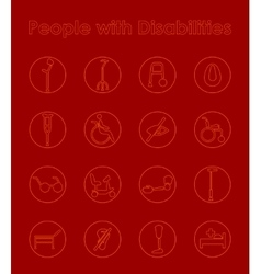 Set of people with disabilities simple icons vector image