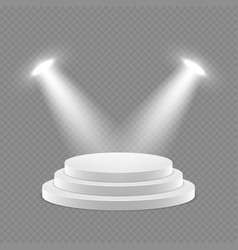 3d pedestal with spotlights isolated object vector image vector image