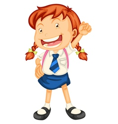 a girl going to school vector image vector image