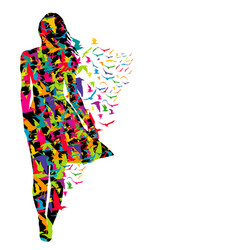 Colorful of woman and birds vector