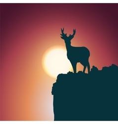 Landscape background Deer standing on a hill vector image