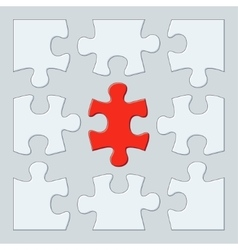 Nine puzzle pieces vector image