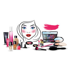 set of cosmetics with beautiful woman face vector image vector image