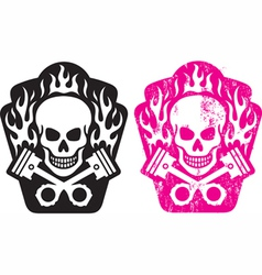 skull and pistons vector image vector image