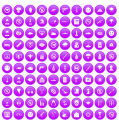 100 tension icons set purple vector image