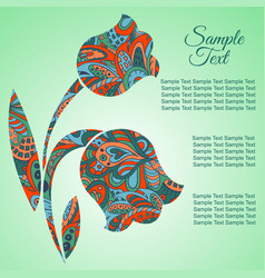 doodle flower tulips zentangl drawing holiday vector image vector image