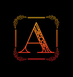letter a with ornament vector image vector image