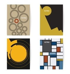 Set of four retro brochures print template in a vector image vector image