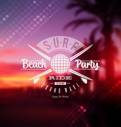 Surf beach party type sign vector image vector image