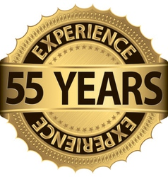 55 years experience golden label with ribbons vector image