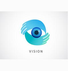abstract eye icon hands and eye logo concept vector image