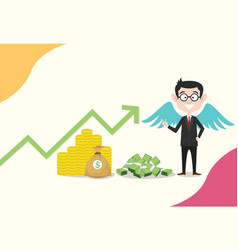 Angel investor business concept men with wing on vector