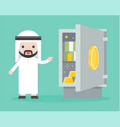 Arab businessman showing banknote and gold vector