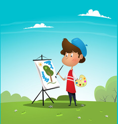 artist boy painting cat on canvas vector image