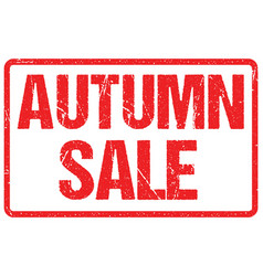 autumn sale typography isolated on white rubber vector image