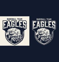 Baseball team monochrome logo vector