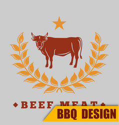 bbq beef meat logo image vector image