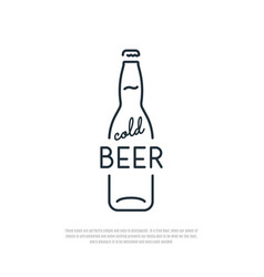 beer icon bottle of cold beer line art emblem vector image