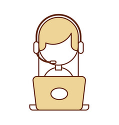call center agent with laptop avatar vector image