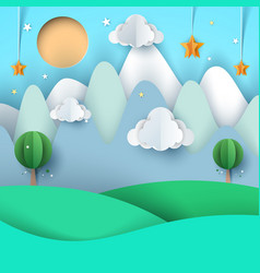 Cartoon paper landscape mountain cloud star vector