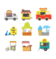 cartoon street food truck stall kiosk set vector image