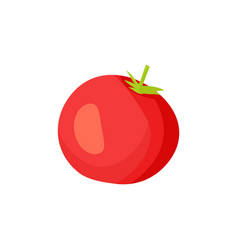cartoon uncut fleshy red tomato with green leaf vector image