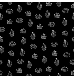 chalkboard seamless pattern desserts vector image