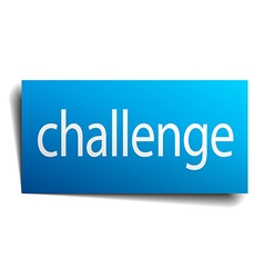 Challenge blue paper sign on white background vector
