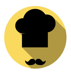 chef hat and moustache sign flat black vector image