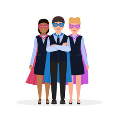 children dressed in superhero costumes characters vector image